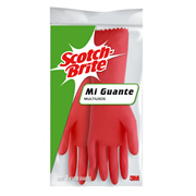 GUANTES DE LATEX SCOTCH-BRITE DEL NUMERO 7 - 7 1/2 USO DOMESTICO COLOR ROJO 1 PZA
