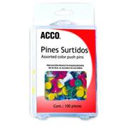PIN ACCO P1167 CON CABEZA PLASTICA DE COLORES CON PUNTA DE METAL 1 BLISTER CON 100 PIEZAS