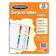 SEPARADOR WILSON JONES P1348 TAMAÑO CARTA CON 12 DIVISIONES DE PAPEL CON CEJAS MULTICOLOR 1 JUEGO