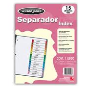 SEPARADOR WILSON JONES P1365 TAMAÑO CARTA CON 15 DIVISIONES DE PAPEL CON CEJAS MULTICOLOR 1 JUEGO