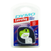 CINTA PARA ROTULADOR DYMO LETRATAG COLOR NEGRO SOBRE COLOR BLANCO TAMAÑO 12MM X 4M