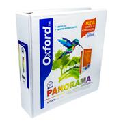 CARPETA DE VINIL PANORAMICA ARILLO EN O DE 2 PULGADAS COLOR BLANCA OXFORD PP02004 PANORAMA 1 PIEZA