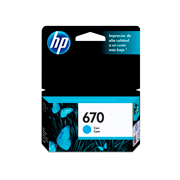 Cartucho original de tinta cyan HP 670 Advantage.