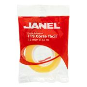 CINTA ADHESIVA CORTE FACIL JANEL 119 TRANSPARENTE DE 12 MM X 33 M 1 PZA