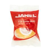 CINTA ADHESIVA CORTE FACIL JANEL 119 TRANSPARENTE DE 18 MM X 33 M 1 PZA