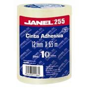 CINTA ADHESIVA CORTE FACIL JANEL 255 TRANSPARENTE DE 12 MM X 65 M BLISTER CON 10 PZAS