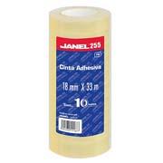 CINTA ADHESIVA CORTE FACIL JANEL 255 TRANSPARENTE DE 18 MM X 33 M BLISTER CON 10 PZAS