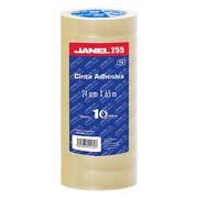 CINTA ADHESIVA CORTE FACIL JANEL 255 TRANSPARENTE DE 24 MM X 65 M BLISTER CON 10 PZAS