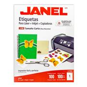 ETIQUETAS BLANCAS JANEL J-5165 DE 216 X 279 MM 1 PAQUETE