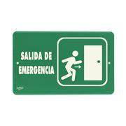 LETRERO ACRILICO SABLON SALIDA DE EMERGENCIA VERDE