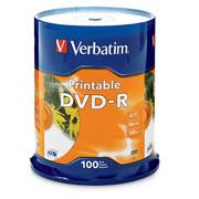 DVD DVD-R IMPRIMIBLE VERBATIM CAPACIDAD 4.7 GB VELOCIDAD DE TRANSFERENCIA 16X CAMPANA DE 100 PIEZAS