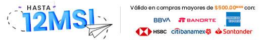 Hasta 3 MSI con tarjetas participantes, montos de $500.00 mxn participantes