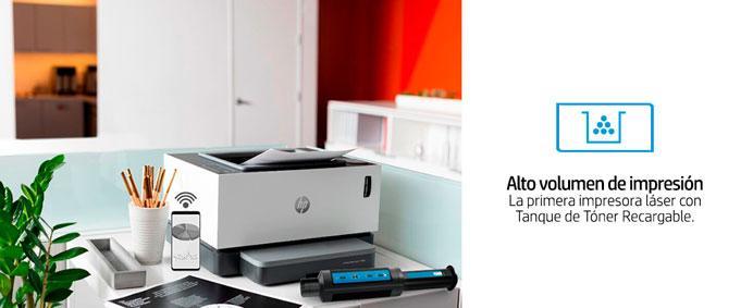 HP Neverstop Laser, 1000w, tanque de tóner recargable, alto volumen de impresion