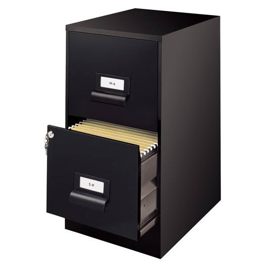 ARCHIVERO VERTICAL DE 2 GAVETAS HIRSH 13679 COLOR NEGRO