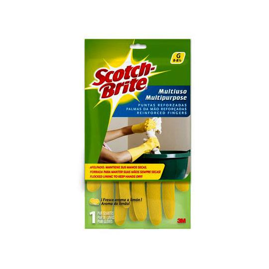 GUANTES DE LATEX SCOTCH-BRITE DEL NUMERO 8 - 8 1/2 USO MULTIUSOS COLOR AMARILLO 1 PZA