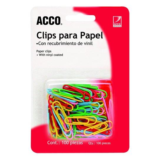 CLIP ESTANDAR DE COLORES ACCO NUMERO 1 CAJA CON 100 CLIPS