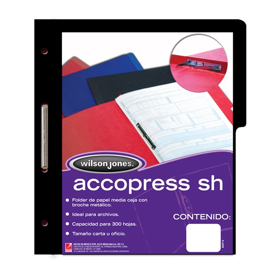 FOLDER DE PAPEL TAMAÑO CARTA ACCO ACCOPRESS P0943 TIPO CARPETA COLOR NEGRO 1 PQ C/10 PZS
