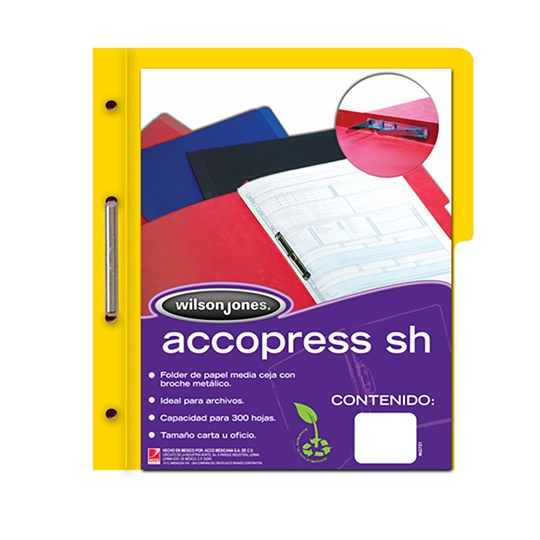 FOLDER DE PAPEL TAMAÑO CARTA ACCO ACCOPRESS P4552 TIPO CARPETA COLOR AMARILLO 1 PQ C/10 PZS