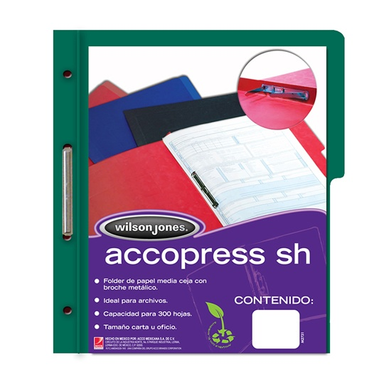 FOLDER DE PAPEL TAMAÑO CARTA ACCO ACCOPRESS  P4578 TIPO CARPETA COLOR VERDE OSCURO 1 PQ C/10 PZS