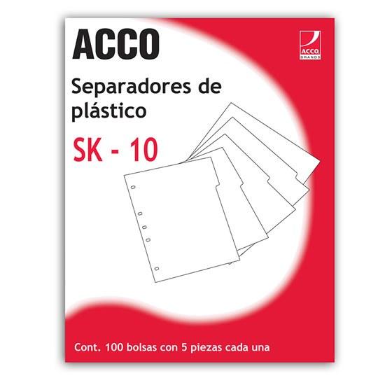 SEPARADOR ACCO P0560 TAMAÑO CARTA CON 5 DIVISIONES DE PLASTICO CON CEJAS BLANCAS 1 JUEGO