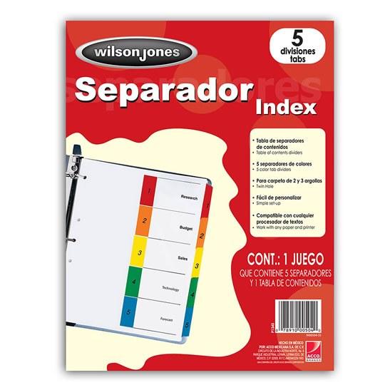 SEPARADOR WILSON JONES P1345 TAMAÑO CARTA CON 5 DIVISIONES DE PAPEL CON CEJAS MULTICOLOR 1 JUEGO