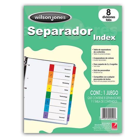 SEPARADOR WILSON JONES P1346 TAMAÑO CARTA CON 8 DIVISIONES DE PAPEL CON CEJAS MULTICOLOR 1 JUEGO