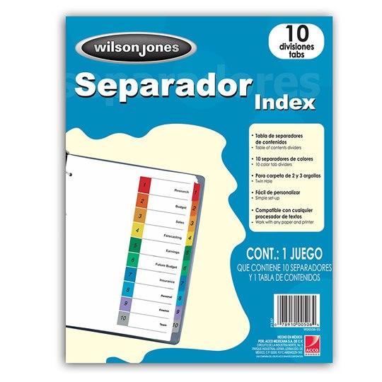 SEPARADOR WILSON JONES P1347 TAMAÑO CARTA CON 10 DIVISIONES DE PAPEL CON CEJAS MULTICOLOR 1 JUEGO