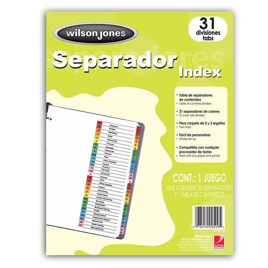 SEPARADOR WILSON JONES P1366 TAMAÑO CARTA CON 31 DIVISIONES DE PAPEL CON CEJAS MULTICOLOR 1 JUEGO