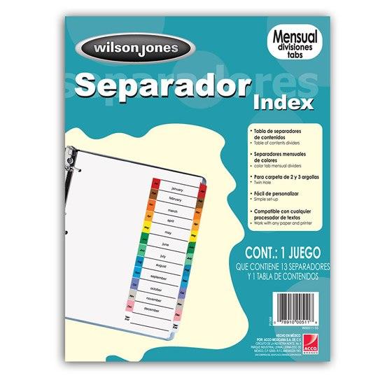 SEPARADOR WILSON JONES P1368 TAMAÑO CARTA CON 12 DIVISIONES DE PAPEL CON CEJAS MULTICOLOR 1 JUEGO