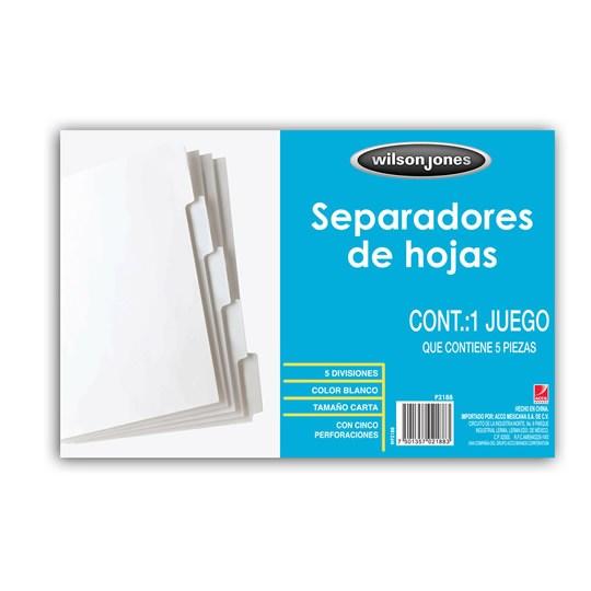 SEPARADOR WILSON JONES P2188 TAMAÑO CARTA CON 5 DIVISIONES DE PAPEL CON CEJAS BLANCAS 1 JUEGO
