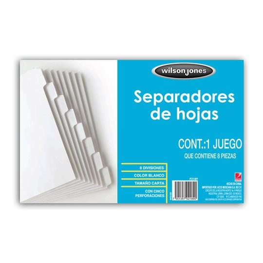SEPARADOR WILSON JONES P2189 TAMAÑO CARTA CON 8 DIVISIONES DE PAPEL CON CEJAS BLANCAS 1 JUEGO