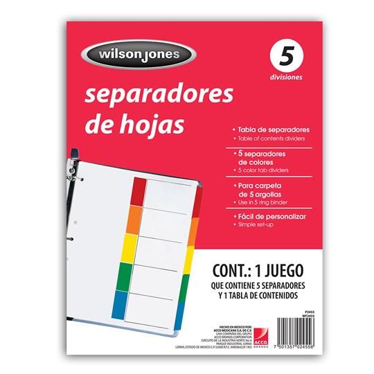 SEPARADOR WILSON JONES P2455 TAMAÑO CARTA CON 5 DIVISIONES DE PAPEL CON CEJAS MULTICOLOR 1 JUEGO