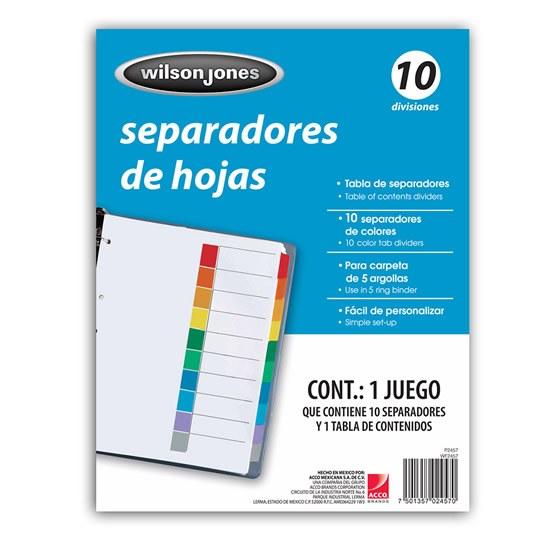 SEPARADOR WILSON JONES P2457 TAMAÑO CARTA CON 10 DIVISIONES DE PAPEL CON CEJAS MULTICOLOR 1 JUEGO