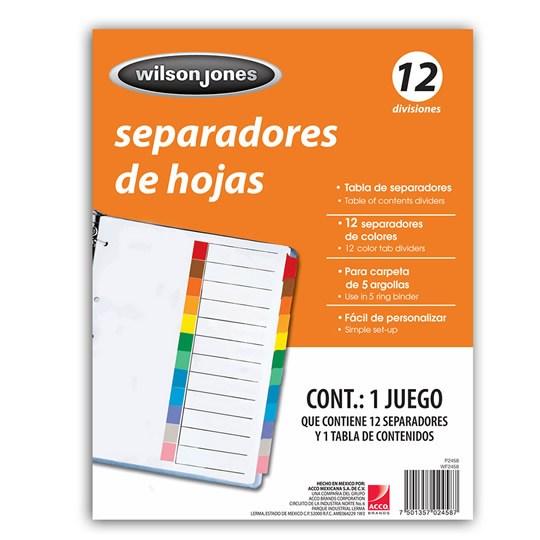 SEPARADOR WILSON JONES P2458 TAMAÑO CARTA CON 12 DIVISIONES DE PAPEL CON CEJAS MULTICOLOR 1 JUEGO