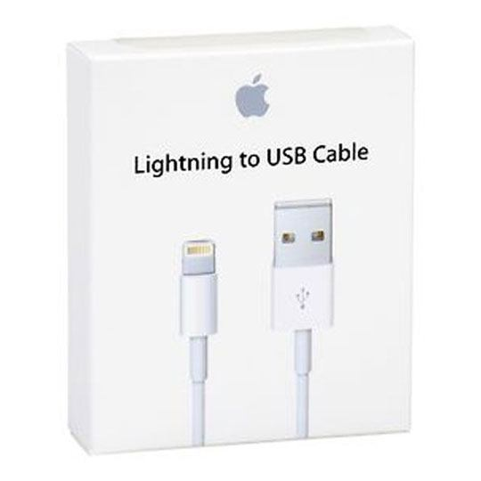 CABLE CARGADOR LIGHTNING USB A 8 PINES APPLE COLOR BLANCO DE 1 METRO MD818AM