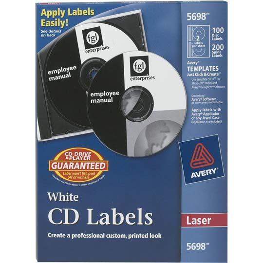 ETIQUETAS PARA CD Y DVD BLANCAS AVERY 5698 DE 11.4 CM  DIAMETRO 1 PAQUETE