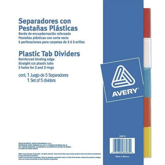 SEPARADOR AVERY 6565 TAMAÑO CARTA CON 5 DIVISIONES DE PAPEL CON CEJAS PLASTIFICADAS 1 JUEGO