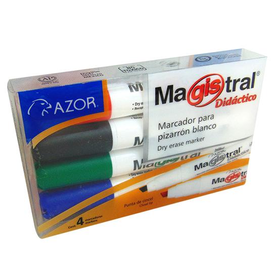 MARCADOR PARA PIZARRON AZOR MAGISTRAL DIDACTICO 8354 COLOR SURTIDO 4 PIEZAS