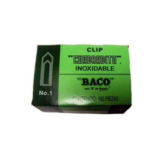 CLIP CUADRADO BACO NUMERO 1 CAJA CON 100 CLIPS