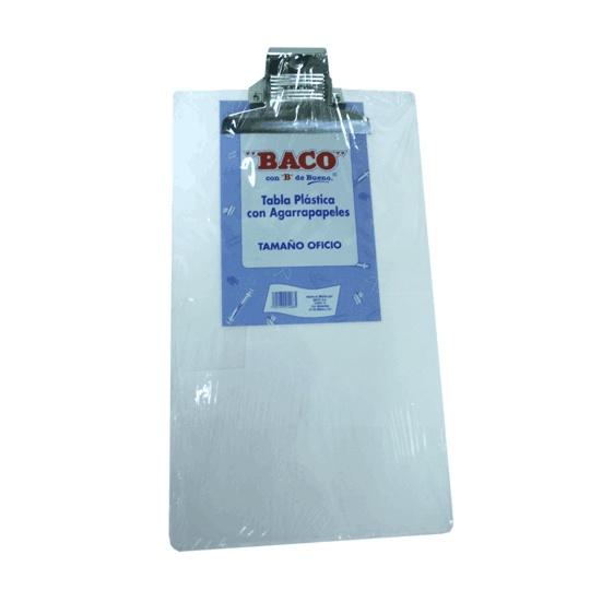 TABLA SUJETAPAPEL BACO PLAST TAMAÑO OFICIO DE PLASTICO CON BROCHE METALICO 1 PIEZA
