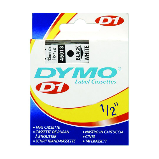 CINTA PARA ROTULADOR DYMO LETRATAG COLOR NEGRO SOBRE COLOR BLANCO TAMAÑO 12MM X 7M
