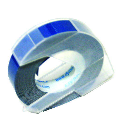 CINTA PARA ROTULADOR DYMO LETRATAG COLOR BLANCO SOBRE COLOR AZUL TAMAÑO 9MM X 3.65M