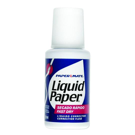 CORRECTOR TIPO LIQUIDO PAPER MATE LIQUID PAPER BASE AGUA CONTENIDO 20 ML 1 PIEZA