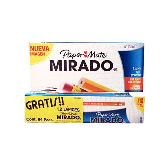 LAPIZ DE MADERA MIRADO NO. 2 CAJA DE 72 PIEZAS MAS 12 DE REGALO