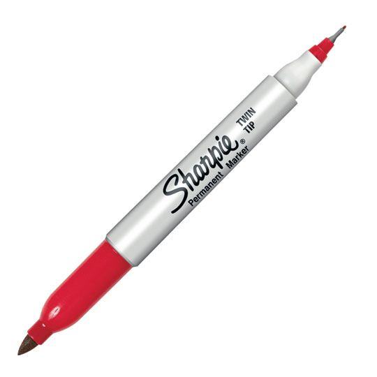 MARCADOR PERMANENTE SHARPIE TWIN TIP 8616160 COLOR ROJO 1 PIEZA