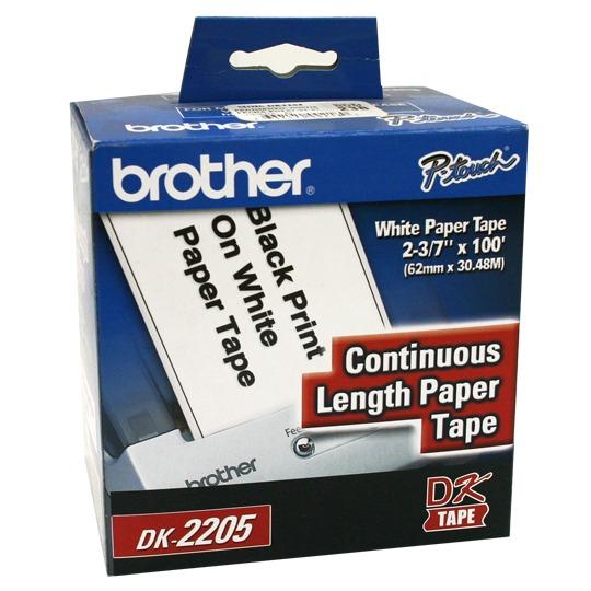 CINTA DE ETIQUETAS BLANCAS BROTHER DK2205 DE 62X30.4CM 1 ROLLO