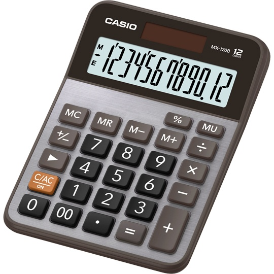 CALCULADORA SEMI-ESCRITORIO CASIO MX-120B-S-MC 12 DIGITOS