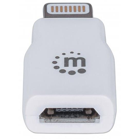 CABLE ADAPTADOR MICRO USB 2 MACHOS 1 HEMBRA MANHATTAN COLOR BLANCO DE  . 390620