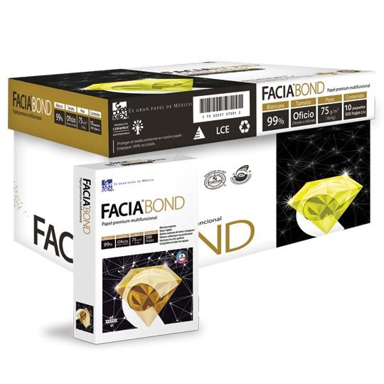 CAJA DE PAPEL BOND BLANCO OFICIO COPAMEX FACIA BOND GRAMAJE 75 GRS BLANCURA 99 PORCIENTO 8.5 X 13.3 PULGADAS 10 PAQUETES CON 500 HOJAS