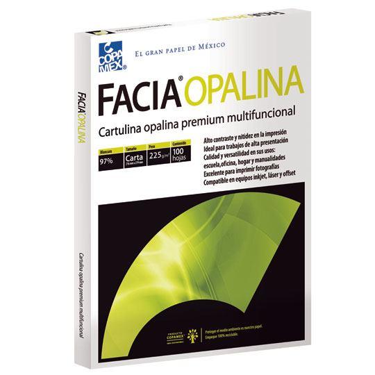 CARTULINA OPALINA COLOR BLANCO COPAMEX TAMAÑO CARTA DE 21.6 X 27.9CM GRAMAJE 225G/M 1 PAQUETE CON 100 HOJAS